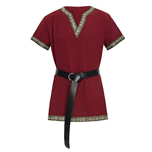KOGOGO Viking Pirate Tunic Medieval Knight T-Shirt Red,Small -