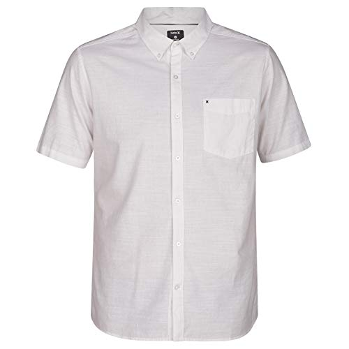 Hurley Men's One & Only Textured Short Sleeve Button Up, White, L