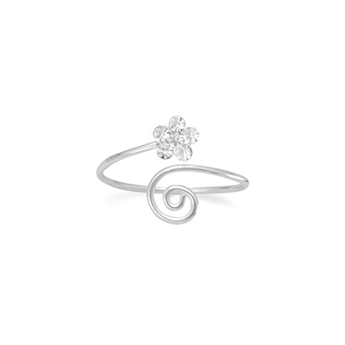 Crystals Wrap Toe Ring - Toe Ring Wrap Coil with Clear Crystal Flower Sterling Silver