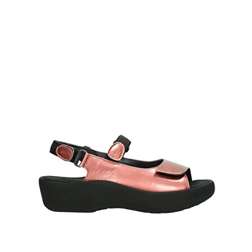 Wolky Comfort Sandals Jewel 80530 Coral Red Patent Leather IQDwoe
