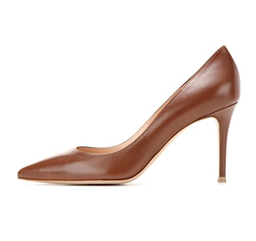 Schuhe Womens On Handmade Patent 80 Matte Pumps Slip mm Spitzschuh Court EDEFS Brown Spring 0UwHWqq