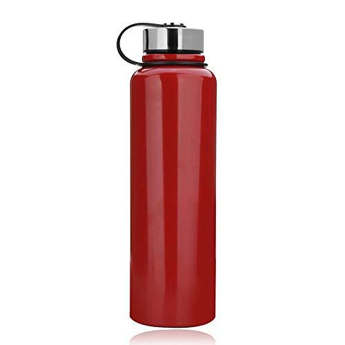 YYW - Botella termica de acero inoxidable de 1,5 litros, aislada al vacio, termo, a prueba de fugas, deportiva, doble pared, termo para deporte, Unisex adulto, rojo, 1 5 L (13x3 5 Zoll)