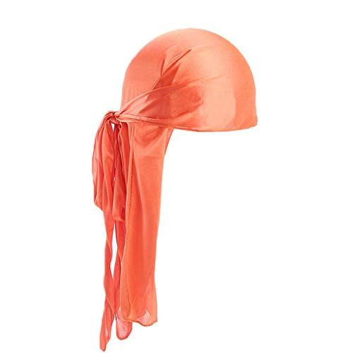 Hot Sale!UMFunChristmas Gift Men/Women Silk Polyester Bandana Hat Durag Rag Tail Headwrap Headwear Gift (Orange) -