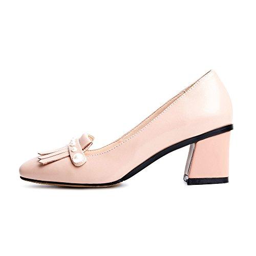 Nine Seven Moda Cuero Puntera Cuadrada Zapatos de Tacón Grueso con Flecos y Perlas para Mujer Rosa