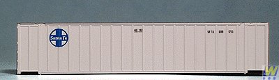 N Scale 48' Ribbed Container - Assembled -- Santa Fe (white, blue) ()