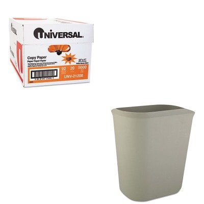 KITRCP2541GRAUNV21200 - Value Kit - Rubbermaid-Gray Fiberglass Wastebasket, 14 Quart (RCP2541GRA) and Universal Copy Paper (UNV21200)