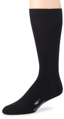 Dockers Men's 3 Pack Performance Dress Flat Knit Socks Socks, Black, 10-13 Sock/6-12 Shoe