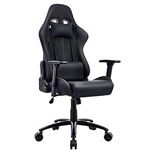 Chaise Gaming, Racing Chaise de Bureau Ergonomique Chaise Gamer Noir Dossier Haut Grand Assis Rembourré Accoudoirs…