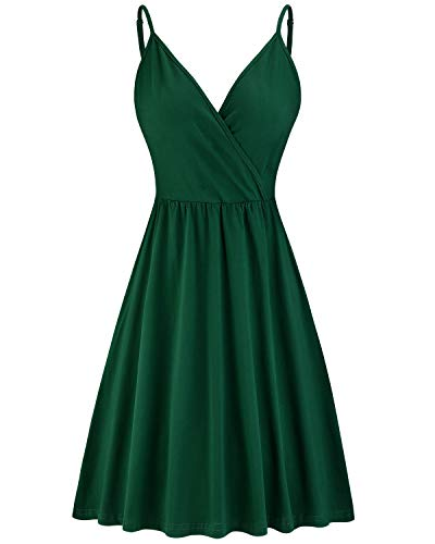 STYLEWORD Women's V Neck Spaghetti Strap Summer Casual Swing Dress with Pocket (Green-429,S)