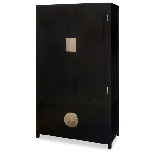 (ChinaFurnitureOnline Elmwood Tall Cabinet, 43 Inches Hand Crafted Qing Design Armoire in Black)