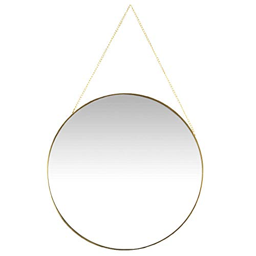 Koyal Wholesale Wall Mirror Detachable Hanging Chain, Table Mirror Centerpiece, Round Vanity Mirror (Gold, 12-Inch Round)