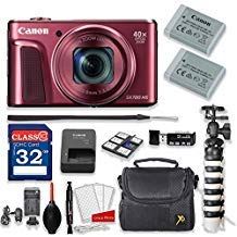 Canon PowerShot SX720 HS 20.3MP 40X Optical Zoom Digital Camera Kit (Red) + 32GB High Speed Memory Card + Extra Battery + Professional Accessory Bundle (Sx710 Canon Powershot Red)