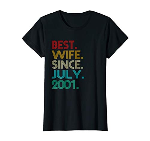 Womens 18th Wedding Anniversary Gifts Best Wife Since July 2001 Tee