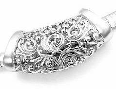 Sterling Silver Intricate Detailed Filigree Long Slide Pendant (Silver Slide Pendant)