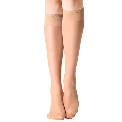 (MANZI 12 pairs Knee High Pantyhose Hosiery for Women(12 pairs natural))