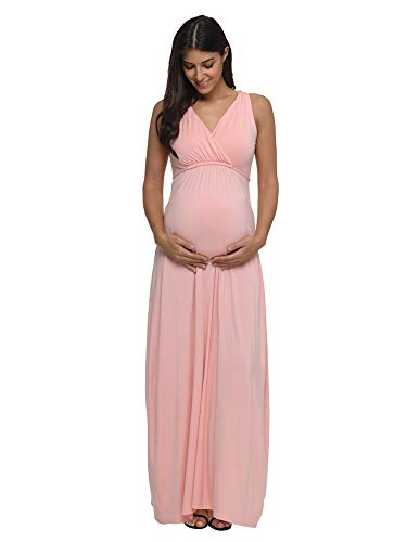 Jezero Women's Ruched Maternity and Nursing Maxi Dress with Adjustable Waist Tie...