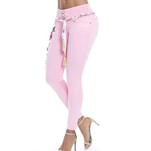 Fit 5XL Estiramiento Asian Las Elásticos Encaje Pantalones Pantalones Jeans S 6 Colores de Bordado Mujeres Flacos de Slim de Rosa Estilo YwPqaw4