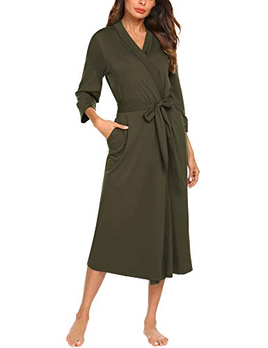 MAXMODA Women Bathrobe 3/4 Sleeve Robe Cotton Comfort Female Kimono Robe Sleepwear(Army Green,M)