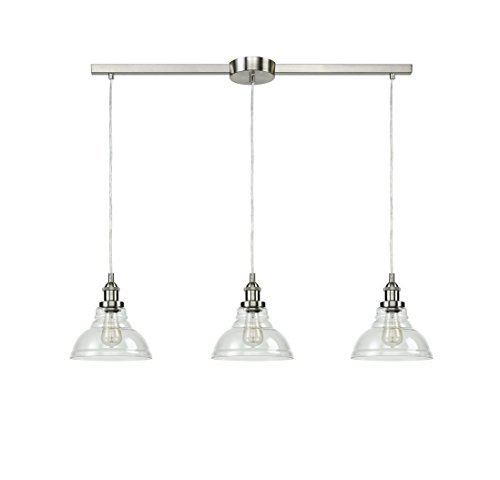 EUL Brushed Nickel Island Lighting 3-Light Vintage Pendant Lamp with Clear Glass Shades