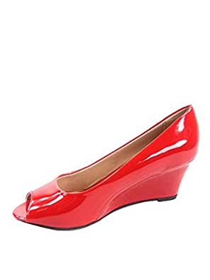FZ-Doris-12 Women's Fashion Patent Open Toe Low Wedge Heel Sandals Shoes (5 B(M) US, Red)