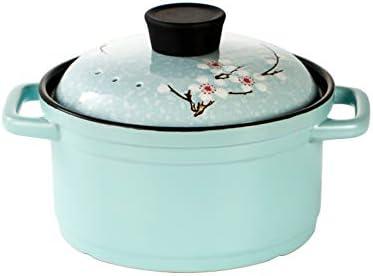 スープキャセロール,セラミック 高温 土鍋 マカロン カラー アンチとクロックスープポット-やけど 桜塗装カバー オープン炎ガスストーブに適しています- 2.5l