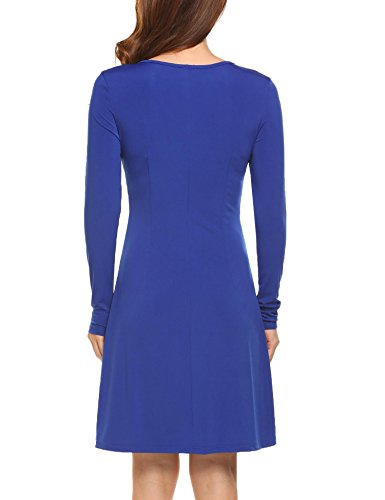 ELESOL V Front Vintage Neck Women's and Sleeve Dress Wrap Blue Fit Line Long Flare A HqwqrE