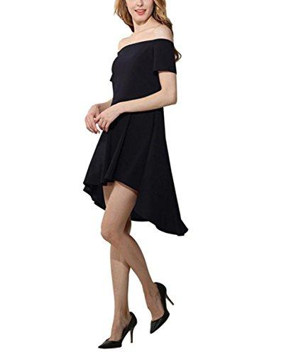 Bsgsh Solide Épaule Au Large Des Femmes De Haute Taille Longue Maxi Ourlet Irrégulier Mini-robe Noire