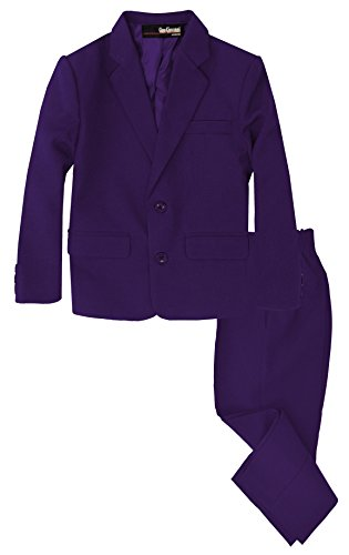 G218 Boys 2 Piece Suit Set Toddler to Teen (6, Purple) -