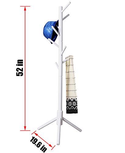 Neasyth Kid's Wooden Coat Rack, Free Standing Tree Hanger 8 Hooks Organizer Furniture in Living Room, Bedroom, Entryway for Hat, Scarves, Satchel, Umbrella Etc. Easy Assembly (White)