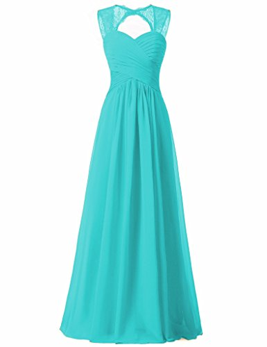 Verabeauty Tiffany Blue Bridesmaid Dress Open Back Illusion Straps Evening Gown For Women Size 6 (Tiffany Lace)