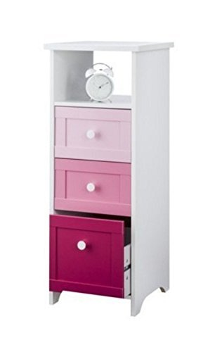 Chest of 3 Drawers for Girls Bedroom White and Pink Narrow Slim Storage Chest by Brown Source