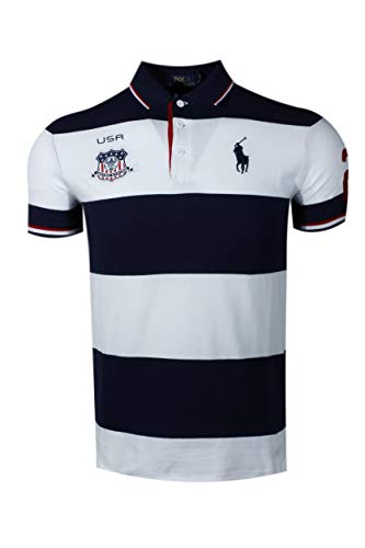 (Polo Ralph Lauren Mens Custom Slim Fit Country Polo- Spring 2019 (X-Large, USA French Navy))