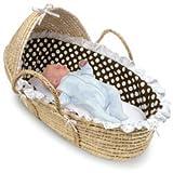 Hooded Moses Basket Natural/Brown Polka Dot