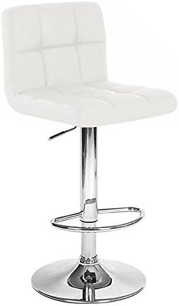 Set of 2 Boris Contemporary Leather Adjustable Barstool – Vanilla White