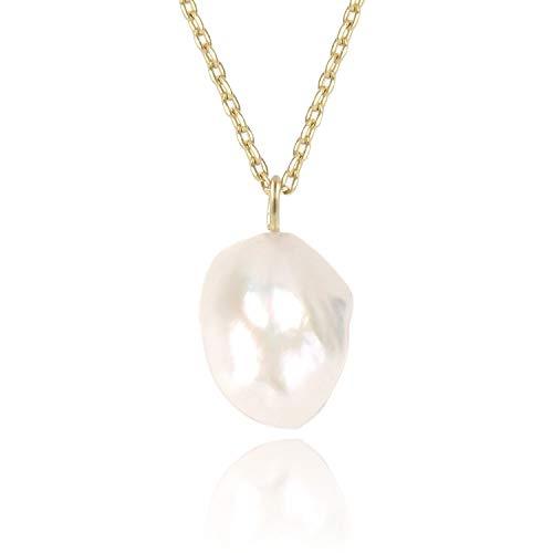 - COZLANE 14K Gold Natural Baroque Pearl Teardrop Simple Pendant Necklace for Women Girls, 16