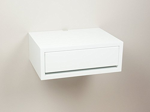 White Nightstand Side Table: Contemporary Floating Nightstand White, Wall Mount