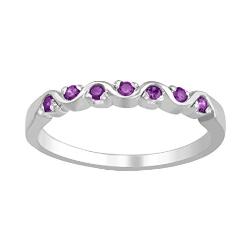 (ArtCarved Cabernet Genuine Amethyst Women's Ring, Sterling Silver, Size 7)