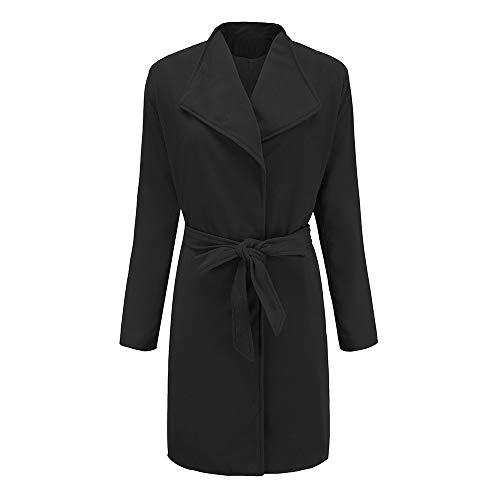 (Kulywon Women Winter Warm Woolen Coat Trench Parka Jacket Belt Overcoat Outwear)