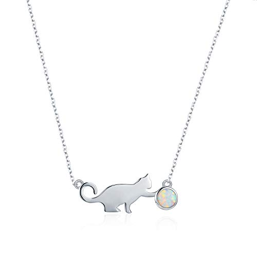 PRAYMOS Cat Necklace 925 Sterling Silver Synthetic Opal Necklace Cat Gifts for Cat Lovers, 18