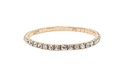 SIMPLICHIC Rhinestone Stretch Bracelet (Gold (1-Line) - Single Pack) ()