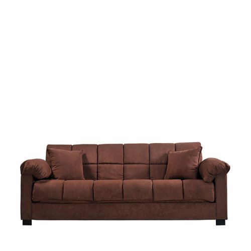 Handy Living Maurice Pillow Top Arm Convert-A-Couch in Dark Brown Microfiber