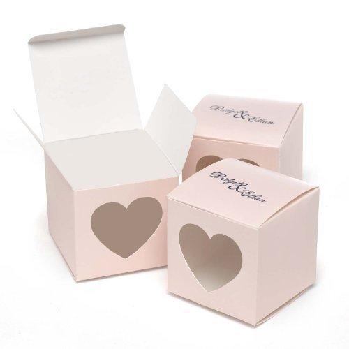 Hortense B. Hewitt Wedding Accessories Heart Window Favor Boxes, 25 Count, Pink Blush