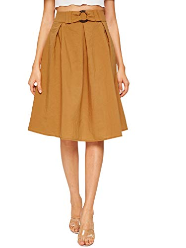 WDIRARA Women's High Waisted A Line Pleated Textured Midi Skirt with Belt Brown XS