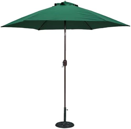 TropiShade 9 ft Bronze Aluminum Polyester Market Umbrella with Green Polyester Cover Base not included