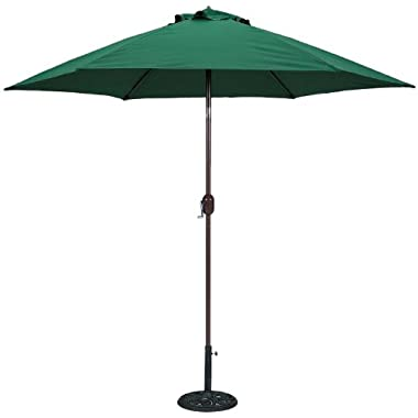 TropiShade 9 ft Bronze Aluminum Market Umbrella with Green Polyester Cover