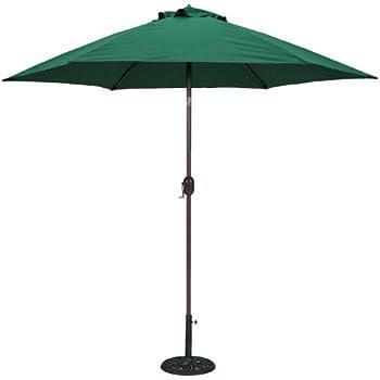 TropiShade 9 Ft Bronze Aluminum Patio Umbrella With Green Polyester Cover