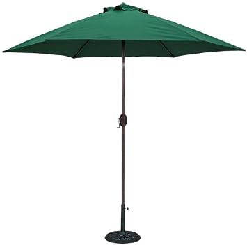 Delightful TropiShade 9 Ft Bronze Aluminum Patio Umbrella With Green Polyester Cover