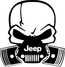 Price comparison product image Jeep Skull Gas Mask PREMIUM Decal 5 inch / Bumper Sticker (White) / Wranger / Rubicon / Sahara / Cherokee / 4x4 / Offroad / Punisher Pistons