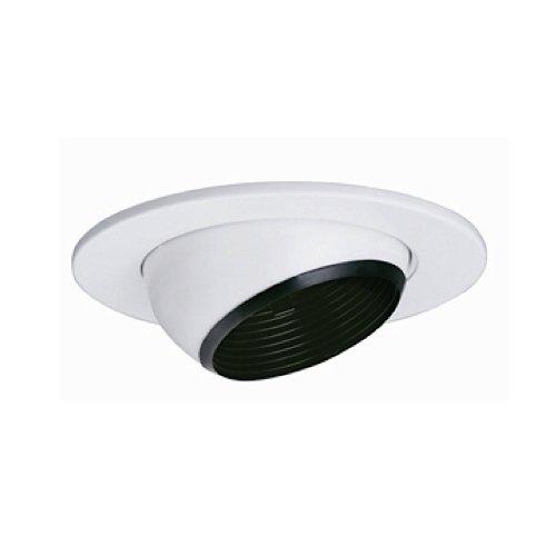 Jesco Lighting TM5535BKWH 5-Inch Aperture Line Voltage Trim Recessed Light, Adjustable Eyeball With Step Baffle, Black Finish With White Trim