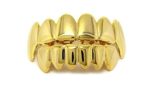 Lingduan 18K Gold Plated Hip Hop Removeable Mouth Grillz Set Removeable Fake Teeth Set Top and Bottom Denture Halloween Vampire Teeth Silver Flat Fake Teeth Set -